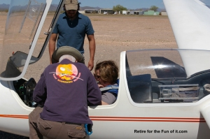 Getting strapped in Glider