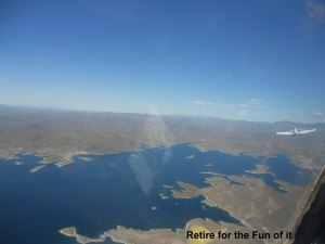 Glider under tow over Lake Paradise